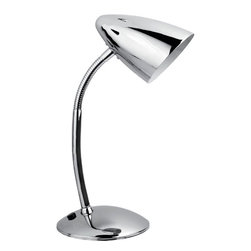 Lite Source - Gooseneck Desk Lamp, Chrome E12 Type G 40W - Gooseneck Desk Lamp, Chrome E12 Type G 40W