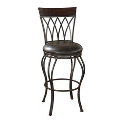 "American Heritage - American Heritage Palermo Stool in Pepper w/ Tobacco Leather - 26 Inch - Italian-style wrought iron with a breezy look for contemporary décors. Iron finished in pepper with 3"" Tobacco leather cushion,  a full-bearing 360° swivel, adjustable leg levelers, and strong Uniweld construction for long-lasting durability."