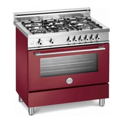 "Bertazzoni - X36 5 GGV VI LP Professional Series 36"" Pro-Style Liquid Propane Range with 5 Se - The wide-format range has a cooktop with five burners including a triple-ring high-efficiency burner with separately controlled flames The oven with gas broiler has a balanced air-flow fan to provide even heat distribution for single and multi-level ..."