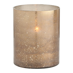 Kathy Kuo Home - Hagar Small Glass Speckled Gold Modern Hurricane Candle Holder - Warm, honey tones are emitted from the reactive glaze of this short glass hurricane.  Artistic, interesting and undeniably gorgeous, this sun-kissed beauty will preserve that summertime feeling all year long.