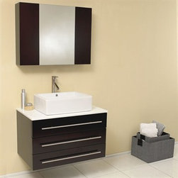 Fresca - Fresca Modello Espresso Modern Bathroom Vanity with Marble Countertop - The Modello is perfect for smaller spaces. Clean lines and simple chrome hardware compliment the combination of espresso, white and chrome. Comes complete with medicine cabinet and marble countertop. Many faucet styles to choose from. Optional side cabinets are available. Features Materials: Solid Oak Wood, Ceramic Sink with Overflow, Marble Countertop Soft Closing Drawers Single Hole Faucet Mount (Faucet Shown In Picture May No Longer Be Available So Please Check Compatible Faucet List) P-trap, Faucet/Pop-Up Drain and Installation Hardware Included How to handle your counter Installation GuideView Spec Sheet