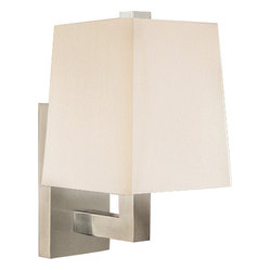Robert Abbey - Doughnut Wall Sconce - Sconces offer a subtle way to illuminate your space, and this piece adds classic contemporary style. It boasts a simple fabric shade and an angular metal body in your choice of finish for a understated elegance.