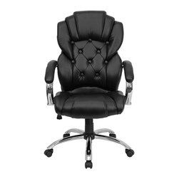 Flash Furniture - Flash Furniture High Back Transitional Style Office Chair in Black - Flash Furniture - Office Chairs - GO908ABKGG - This transitional designed office chair by Flash Furniture will give your office a stylish look. The button tufted design and chrome features makes this a truly transitional office chair. Consisting of a well-padded seat and back along with a standard spring tilt mechanism padded arms and black leather upholstery this leather office chair will be a fine addition to any office setting. [GO-908A-BK-GG]