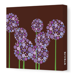 "Avalisa - Imagination - Allium Stretched Wall Art, Brown Purple, 28"" x 28"" - Art is the best way to add personality to your home. These clusters of multi-hued flowers would bring a pop art vibe to a blank wall and liven up your space. The stretched canvas means it's ready to hang and you don't even have to worry about framing. Ready, set, decorate!"