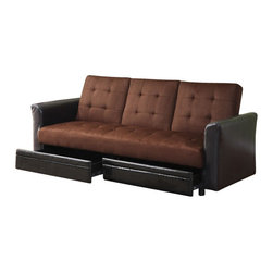 """Acme - Kay Two Tone Chocolate Microfiber Fabric and Leather-Like Upholstery - Kay two tone chocolate microfiber fabric and leather like upholstered adjustable sofa futon bed with center fold down arm rest with cup holder. This set features a two tone microfiber fabric and leather like upholstery and a folding back to lay flat to convert to a sleep area and storage drawers underneath the seat. Measures when flat 82"""" x 45"""" x 18""""H. Measures when upright 82"""" x 34"""" x 37""""H. Some assembly required."""