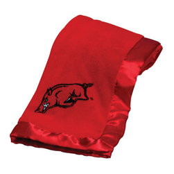Collegiate Delight - University of Arkansas Blanket - Let your school spirit show with these officially licensed collegiate baby blankets. These embroidered coral fleece blankets with matching satin trim are super soft to the touch and perfect for your future graduates and athletes.