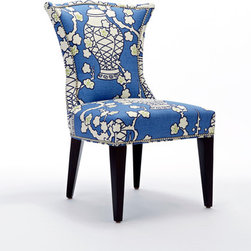 Cachepot Room - Cachepot in Hyacinth works great on accent pieces! Here is the Amelia chair upholstered in Cachepot and finished with brushed nickel nailheads.