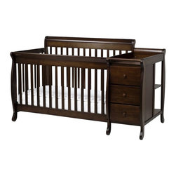 "Da Vinci - DaVinci Kalani Convertible 4-in-1 Baby Crib and Changer including Toddler Rail i - Da Vinci - Baby Crib Sets - M5591Q - The newest addition to the Kalani Collection has redefined the word ""craftsmanship���.  We all know space is sometimes hard to come by.  So with that in mind DaVinci has designed this sleek crib and combo changer with the same clean classic lines it has come to be known for.This combo still converts into a toddler bed day bed and full bed as the stand-alone crib does.  And there is still ample storage with 3 drawers and 2 back shelves on the changer.  But now youll just have more room in your nursery! Its safety engineering and design all rolled into one pretty little package. Features:"