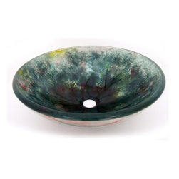 "Legion Furniture - Multi Colored Round Glass Vessel Sink 198 - This multi toned glass bowl is made of high quality tempered glass. Sink features turquoise and gold tones (lighter at top, darker towards the bottom).  Material: Double Layer Tempered Glass; Color: Sink Features Turquoise and Gold Tones (Lighter at Top, Darker Towards the Bottom); Dimensions: 16.5"" X 5.5""; Thickness: 0.5""; Drain Hole: 1.75""; Weight: 15 lbs; Installation: Top Mount; Included: Chrome Pop-Up Drain and Mounting Ring; Not Included: Faucet."