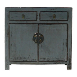 "Golden Lotus - Gray Rustic Lacquer Slim Side Table Cabinet - Dimensions:  w35.5"" x d12""x  h33.5"""