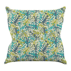 """Kess InHouse - Julia Grifol """"Tropical Leaves"""" Throw Pillow (16"""" x 16"""") - Rest among the art you love. Transform your hang out room into a hip gallery, that's also comfortable. With this pillow you can create an environment that reflects your unique style. It's amazing what a throw pillow can do to complete a room. (Kess InHouse is not responsible for pillow fighting that may occur as the result of creative stimulation)."""