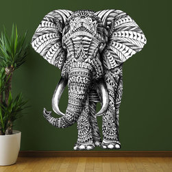 My Wonderful Walls - Elephant Wall Sticker Decal –  Ornate Animal Art by BioWorkZ, X-Large - - Product: ornate standing elephant wall sticker decal