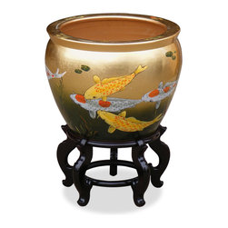 China Furniture and Arts - 16in Hand-Painted Prosperity Koi Fish Design Fishbowl - The noble families of ancient China used large bowls such as ours to protect their pond gold fish from the freezing cold of winter. Used today as a cachepot, it gives a large plant a highly decorative place to put down roots. Painstakingly hand-painted Chinese prosperity swimming Koi fish and waving grasses on gold leaf background grace this porcelain bowl. Imported from China. Stand sold separately.