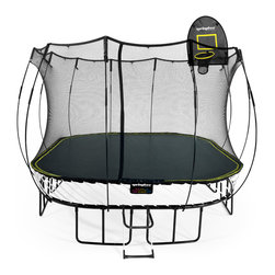 Springfree Trampolines - S155 13' x 13' Large Square Trampoline, shown with optional FlexrHoop and Ladder.