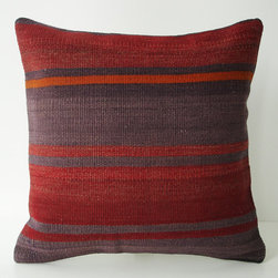 Hand Woven Turkish Antique Kilim Pillow by Sukan - A pillow covered with an antique kilim (a kind of a rug). It's made of wool. Colored with natural dyes. It has Anatolian and Middle Eastern patterns.