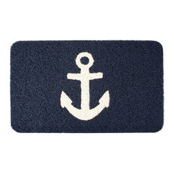 Kikkerland - Kikkerland Doormat, Anchor - -Anchor doormat for indoor and outdoor use -Durable pvc coil mat -Rugged texture and non-slip back -To clean shake or vacuum as needed, or simply hose off -Measures 30 by 18-inch -Manufactured in: ImportedDimensions: 30″ x 0.75″ x 18″.