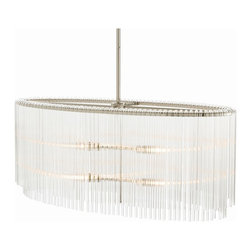 Arteriors - Royalton Oval Pendant - Drench your favorite setting with the clear light of this fixture. Multiple clear glass rods drape lavishly over a pair of polished nickel frames for an ethereal feel.