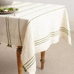 Ribbon-Weave Tablecloth, Green -