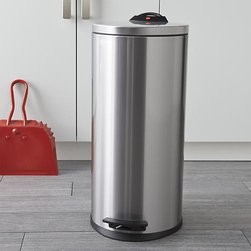 Hailo Tall Trash Can - Hailo's quality and craftsmanship are evident in every detail of their sleek cylinder can of zinc-plated stainless steel with fingerprint-resistant finish. From Germany, this taller can is furnished with a removable liner; easy-life butterfly handles and hands-free pedal make for clean contact. A unique integrated handle easily moves the can to the cleanup.
