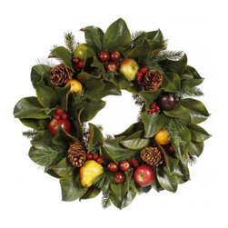 Winward Designs - Pinecone/Fruit/Foliage Wreath - A welcoming wreath is a classic symbol of the holiday season. There's simply no better way to adorn your front door that with a rich collection of leaves, pinecones and fruit. Why not invest in one that can be stored and enjoyed year after year?