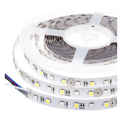High Power RGBW LED Flexible Light Strip - RGB+White LED Strip - NFLS-RGBW300X3 series Non-weatherproof flexible LED light strip with alternating RGB and W high power 5050SMD LEDs. 5 meter (197 in) length with white finish and adhesive backing, can be cut into 6-LED segments. 12VDC operation. Available in RGB+Natural White or RGB+Warm White.