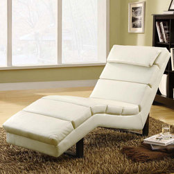 Monarch - Taupe Leather-look Chaise Lounger - This modern taupe bonded leather chaise lounger will make a wonderful addition to your living room. Its contemporary style enhances any room with its rectangular shaped and exquisitely cushioned seating. Stretch out after a long day of work and relax your head on its padded head rest. The chic design creates an inviting feel, and the solid feet provide sturdy support this piece.