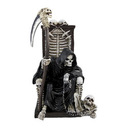 Grim Reaper on Throne with Undead Skeleton Pet Statue - This grim reaper skeleton statue is a great addition to macabre art collections. It features the Reaper upon a throne of bones with his scythe in one hand, and the chain to his undead skeleton pet in the other. Made of cold cast resin, this piece measures 11 1/4 inches tall, 6 3/4 inches wide, and 5 inches deep. It is quite detailed, and makes a great gift for skull lovers. NOTE: The scythe is packaged separately from the statue on the outside of the styrofoam.