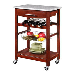 Linon - Granite Top Kitchen Cart with Wenge Base - 44037WENGE-01-KD-U - Shop for Carts from Hayneedle.com! You'll be surprised how much work space and storage can come in such a small package. The Granite Top Kitchen Cart with Wenge Finish is versatile portable and won't hog all the open space in your kitchen - but still gives you plenty of much-needed room for food preparation and more. This cart is made from pine wood and MDF (medium density fiberboard) and has a rich Wenge finish and a natural granite top. A built-in drawer large bottom shelf and pull-out wire basket let you keep utensils towels and supplies nearby. The built-in wine rack holds four bottles and four heavy duty locking rubber casters make it simple to put the cart wherever you need it. In fact the cart (unlike many similar models) is finished on all sides so you can use it in the middle of the room if you'd like. Measures 22.8W x 15.625D x 33.875H inches.About Linon Home DecorLinon Home Decor Products has established a reputation in the market for providing the best trend-right products at the right price while offering excellent quality style and functional furnishings to every room in the home. Linon offers a broad selection of furnishings for today's discriminating and demanding retail environments. They offer outstanding values for every room; a total commitment of quality service and value that is unsurpassed in their industry.