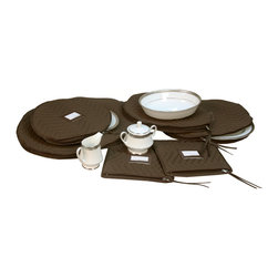 None - 6-Piece Brown Quilted Accessory China Storage Set - Protect your expensive dinnerware by storing it in this quilted china storage set. Six quilted microfiber pieces prevent chips and cracks. It has a piece for everything from creamers to bowls, so you can protect your entire collection.