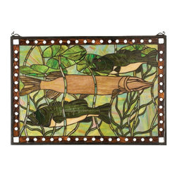 Meyda Tiffany - Meyda Tiffany 23971 Pike and Bass Tiffany Window - Like a fine painting, this beautifully executed stainedglass window features a sportsman's dream with colorfulfish designs that capture Bass and Pike.