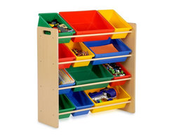 Honey Can Do - Kids Storage Organizer- 12 Bins- Natural - Sturdy plastic bins, sturdy construction, rounded safety corners, easy to assemble. 36 in. H x 33.25 in. W x 12.5 in. D