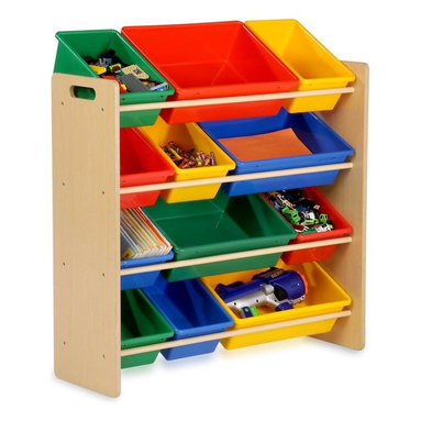 Honey Can Do - Kids Storage Organizer With 12 Bins, Natural - Sturdy plastic bins, sturdy construction, rounded safety corners, easy to assemble. 36 in. H x 33.25 in. W x 12.5 in. D