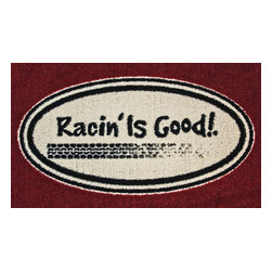 Sands Rug Company - Racing is Good Accent Rug (29x18) - Add a bit of the outdoor to your home, office, cabin, garage — anywhere. What a fun way to show your interests or give as a gift to that someone who enjoys it. This accent rug is 100% nylon, hand-tufted, and has a washable rubber backing.