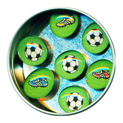 """Soccer Glass Gem Magnet Set - Handmade in our studio, ourSoccer glass gem magnets started with a tiny painting which was reduced to size and reproduced. We use super strong ceramic magnets, so they're not only cute, they're functional. Not like those magnets that fall off when you close the refrigerator door!) Each magnet is about 3/4 inch wide, the tin is 2.75"""" wide. Set of 7 in a tin. Made in the USA."""
