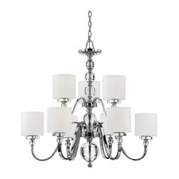 Quoizel - Quoizel Downtown DW5009C Chandelier Multicolor - DW5009C - Shop for Chandeliers from Hayneedle.com! Festoon your foyer or dining room with the urban chic luster of the Quoizel Downtown DW5009C Chandelier. This 2-tiered light fixture features thick swooping steel arms finished in bright polished chrome. The opal glass shades are crisp white cylinders to contrast the platinum sheen of the body. Clear glass globes accent the whole structure for even more spectacular light refraction. It takes nine 100-watt medium base bulbs.About Quoizel LightingLocated in Charleston South Carolina Quoizel Lighting has been designing timeless lighting fixtures and home accessories since 1930. They offer a distinctive line of over 1 000 styles including chandeliers lamps and hanging pendants. Quoizel Lighting is the perfect way to add an inviting atmosphere to any area in your home both indoors and out.