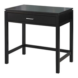 Linon - Linon Sutton Desk with Keyboard Tray in Black - Linon - Computer Desks - 84031BLK01KDU - The simple beauty of Sutton Desk is enhanced by the contemporary black finish. The Sutton Collection is suitable for any contemporary or traditional decor. The Desk features one drawer for extra storage and a large top for ample work, storage and display space.