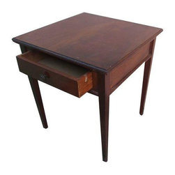 Antique Wooden Side Table - This very elegant, yet simple side table is a nice accent to any decor. A perfect square made of solid wood with one drawer.  In good condition with some minor blemishes, yet nothing very apparent.
