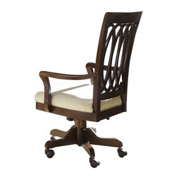 American Drew - American Drew Cherry Grove NG Castered Desk Chair in Mid Tone Brown - Cherry Grove New Generation line promises the same timeless quality and appeal with a full line of dining room, bedroom, home office, entertainment and occasional furniture. The line incorporates many elegant curves and graceful movement, and is updated with today? finishes, functionality and style. The inviting Mid tone brown finish makes the cherry veneers pop on each piece, along with Custom designed hardware. This line takes advantage of vertical space with higher case heights, and maximizes the utility of small spaces with hinged drop leaves on servers and tables. In combination, the collection takes functionality to a lifestyle level and allows urban or scaled-down living spaces to become entertainment areas, making small rooms work like big rooms. The New Generation of Cherry Grove is about honoring tradition while staying on trend.