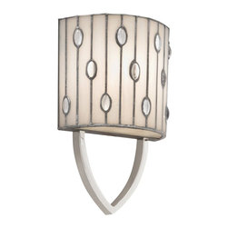 TIFFANY - TIFFANY Cloudburst Transitional Wall Sconce X-49096 - From the Cloudburst Collection, this Kichler Lighting transitional wall sconce is contemporary from the styling to the finishes. A Polished Nickel hue accentuates the lines of the wispy white art glass shade with clear jewel accents.