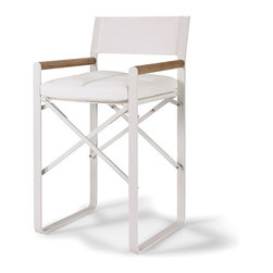"Frontgate - Director's Counter Height Chair with Cushion, Patio Furniture - Durable teak arm accents. Strong aluminum frame, 1-3/4"" round tubing, with a matte white powdercoat. Marine-grade stainless steel hardware. Available in chair-height or counter-height. White stamskin cushion included. The quintessential form of our Director's Chair will bring a surprising artistic bent to your outdoor space. Designed to beautifully handle the heat, it features an aluminum frame with a matte white powdercoat, and a sling back and seat made of Batyline – a UV- and heat-resistant woven polyester fabric.. . . . . Sling seat and back made of woven polyester mesh protected by a PVC coating."