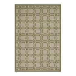 "Couristan - Five Seasons Retro Clover Rug 3094/2342 - 4'11"" x 7'6"" - The days of boring 'Welcome' mats are over add one of these fresh designs to your front patio and greet guests with a truly welcoming touch. Create a permanent outdoor breakfast nook by using these durable area rugs to complement a bistro table and some cushioned chairs."