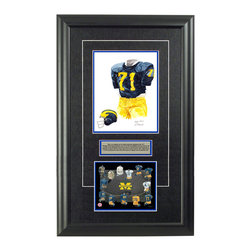 """Heritage Sports Art - Original art of the NCAA 1973 Michigan Wolverines uniform - This beautifully framed NCAA football piece features an original piece of watercolor artwork glass-framed in an attractive two inch wide black resin frame with a double mat. The outer dimensions of the framed piece are approximately 17"""" wide x 28"""" high, although the exact size will vary according to the size of the original piece of art. At the core of the framed piece is the actual piece of original artwork as painted by the artist on textured 100% rag, water-marked watercolor paper. In many cases the original artwork has handwritten notes in pencil from the artist. Simply put, this is beautiful, one-of-a-kind artwork. The outer mat is a rich textured black acid-free mat with a decorative inset white v-groove, while the inner mat is a complimentary colored acid-free mat reflecting one of the team's primary colors. The image of this framed piece shows the mat color that we use (Medium Blue). Beneath the artwork is a silver plate with black text describing the original artwork. The text for this piece will read: This is an original, one-of-a-kind watercolor painting of the 1973 Michigan Wolverines uniform worn by #71 David Gallagher and was used in the creation of this Michigan Wolverines uniform evolution print and thousands of Michigan products that have been sold across North America. This original piece of art was painted by artist Nola McConnan for Maple Leaf Productions Ltd. Beneath the silver plate is a 6.5"""" x 7"""" reproduction of a uniform evolution print that celebrates the history of the team. The print beautifully illustrates the chronological evolution of the team's uniform and shows you how the original art was used in the creation of this print. If you look closely, you will see that the print features the actual artwork being offered for sale. The 6.5"""" x 7"""" print is shown above. The piece is framed with an extremely high quality framing glass. We have used this glass style """
