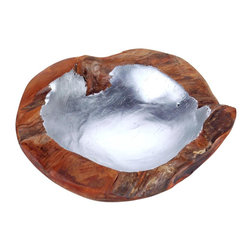 Selamat Designs - Hand Finished Teak Root Bowl, Silver Inlay, Small - Hand Finished Teak Root bowl with Silver Leaf Inlay.  Because these bowls are formed from the root of the Teak Tree, the result is a gnarled and burled natural product and each one is unique.  Put in on a hall table, put your keys in it, fill it with jewelry or put it on a stack of books.
