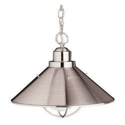 BUILDER - BUILDER Seaside Transitional Pendant Light X-IN3172 - The Brushed Nickel finish accentuates the clean lines of this Kichler Lighting transitional pendant light hint at industrial influences. From the Seaside Collection, this pendant light is U.L. listed for use in damp locations.