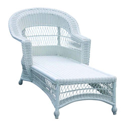 Wicker Paradise - Outdoor Wicker Chaise - Cape Cod Style - Our outdoor wicker chaise is resin wicker fiber woven on an aluminum frame. There is nothing more relaxing than sitting poolside or right on the front porch on this cape cod influenced wicker chaise. Just bring your book, a beverage and those wide wicker arms will take you to paradise! Perfectly suitable for carefree outdoor living and stylish with lattice work charm of traditional wicker.  Our chaise lounge is an all weather specialty. you can enjoy the synthetic material support your back and show off the beautiful design when not in use.