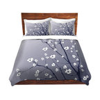 DiaNoche Designs - Duvet Cover Twill - Blooming Tree Blue Grey - Lightweight and soft brushed twill Duvet Cover sizes Twin, Queen, King.  SHAMS NOT INCLUDED.  This duvet is designed to wash upon arrival for maximum softness.   Each duvet starts by looming the fabric and cutting to the size ordered.  The Image is printed and your Duvet Cover is meticulously sewn together with ties in each corner and a concealed zip closure.  All in the USA!!  Poly top with a Cotton Poly underside.  Dye Sublimation printing permanently adheres the ink to the material for long life and durability. Printed top, cream colored bottom, Machine Washable, Product may vary slightly from image.