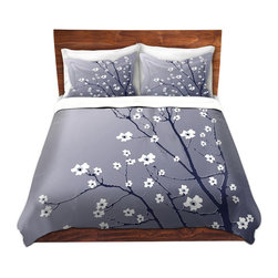 DiaNoche Designs - Duvet Cover Twill - Blooming Tree Blue Grey - Lightweight and super soft brushed twill Duvet Cover sizes Twin, Queen, King.  This duvet is designed to wash upon arrival for maximum softness.   Each duvet starts by looming the fabric and cutting to the size ordered.  The Image is printed and your Duvet Cover is meticulously sewn together with ties in each corner and a concealed zip closure.  All in the USA!!  Poly top with a Cotton Poly underside.  Dye Sublimation printing permanently adheres the ink to the material for long life and durability. Printed top, cream colored bottom, Machine Washable, Product may vary slightly from image.