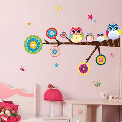 KidsPlay - Colorful Owls on Branch Wall Decal - Material: WaterProof Plastic Size: 75cm x 61cm