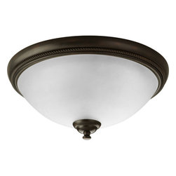 """Progress Lighting - Progress Lighting P3479-20 Pavilion 15"""" Two-Light Flush Mount Ceiling Fixture - One light flush mount with etched watermark glass. An eclectic blend of modern and traditional values. Twisted wire details and wound bands add visual drama in Antique Bronze finish."""
