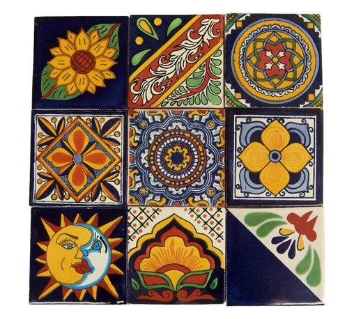 "Casa Daya - 9 Hand Painted Made to Order Talavera Tile Set - Set of nine 4"" x 4"" tiles for your craft or construction project."